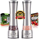 Johnny Bellson Premium Salt and Pepper Grinder Set - Professional Quality Stainless Steel Mills with Adjustable Ceramic Grinders - Decorative Shakers, Ergonomic Design, Huge Capacity -Free Bonus eBook