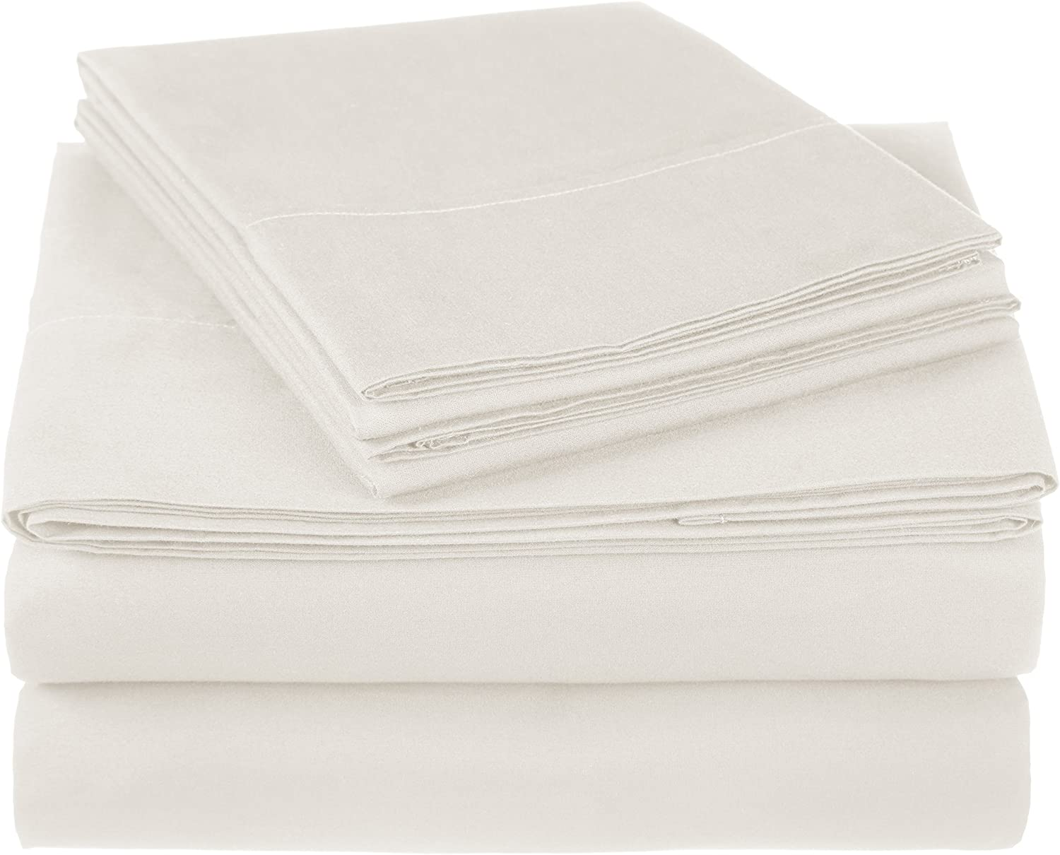 Pinzon 300 Thread Count Ultra Soft Cotton Bed Sheet Set, King, Ivory