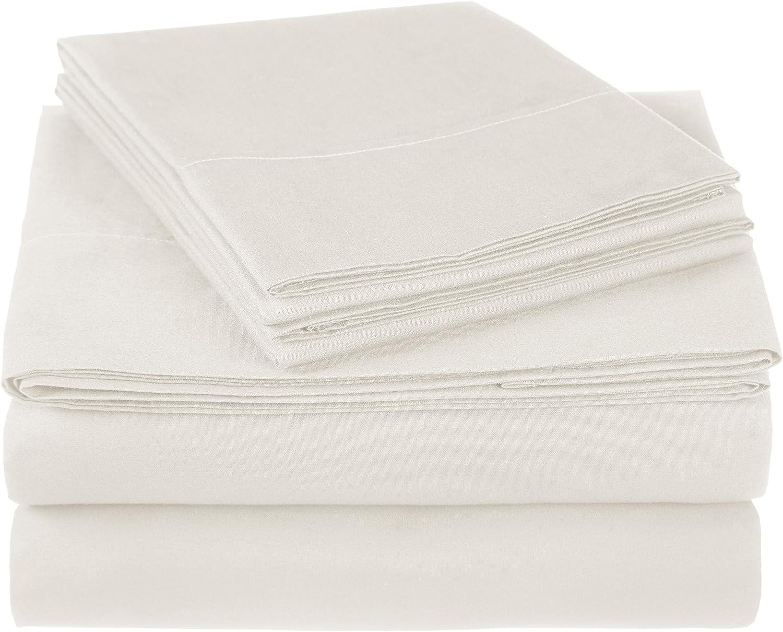 Pinzon 300 Thread Count Ultra Soft Cotton Bed Sheet Set, Queen, Ivory
