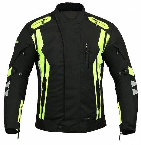 RIDEX Hivis Mens CJ7 chaqueta de Moto Motocicleta Impermeable Protección, negro, amarillo - negro