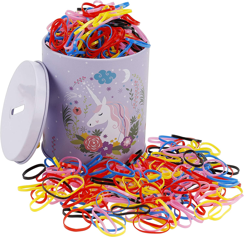Goma de Pelo Multicolor Lazo de Pelo Elástico Banda de Goma con Caja Libre para Niñas Bebés, 2000 Piezas Mini Titular de Cola de Caballo para Trenzas, Peinado de Boda y Más