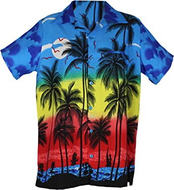 a3a28c38 Hawaiian Shirts Party Fancy Dress Beach Palm Tree Shirt Stag Party Small to  XXL Small, Medium Large: Amazon.co.uk: Clothing