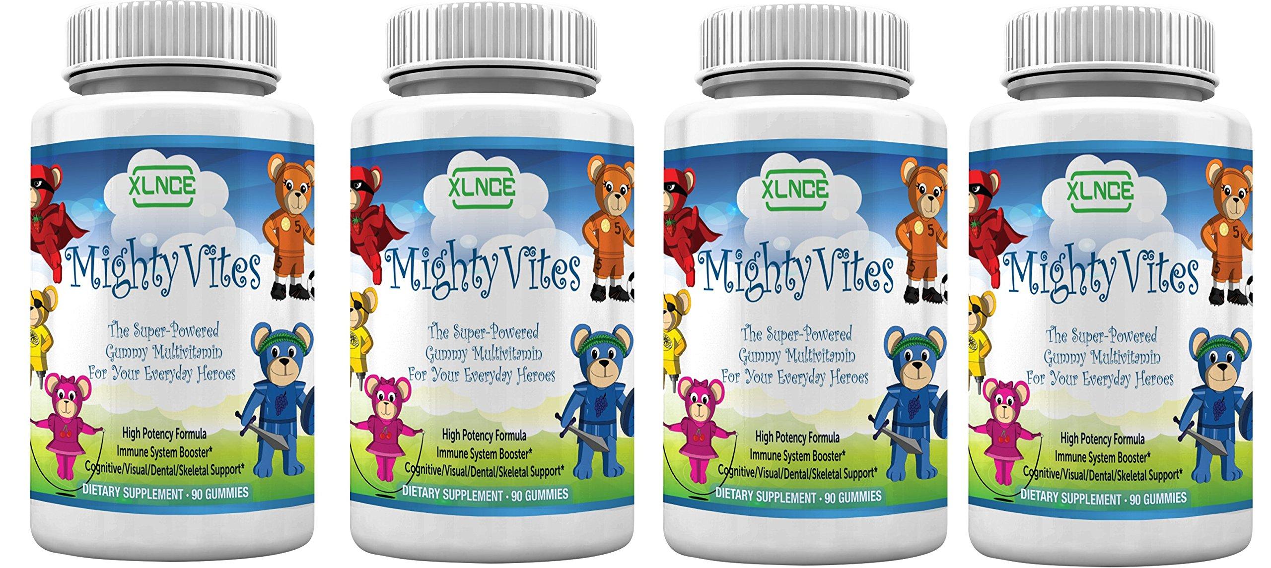 Pack of 4 Children Multivitamin Gummies by XLNCE - Gummy Vitamins Boost Immune System Health in Kids, Toddlers, Teens, Men & Women. Best Natural Chewable Multivitamins. Add Multi Items to Cart NOW!