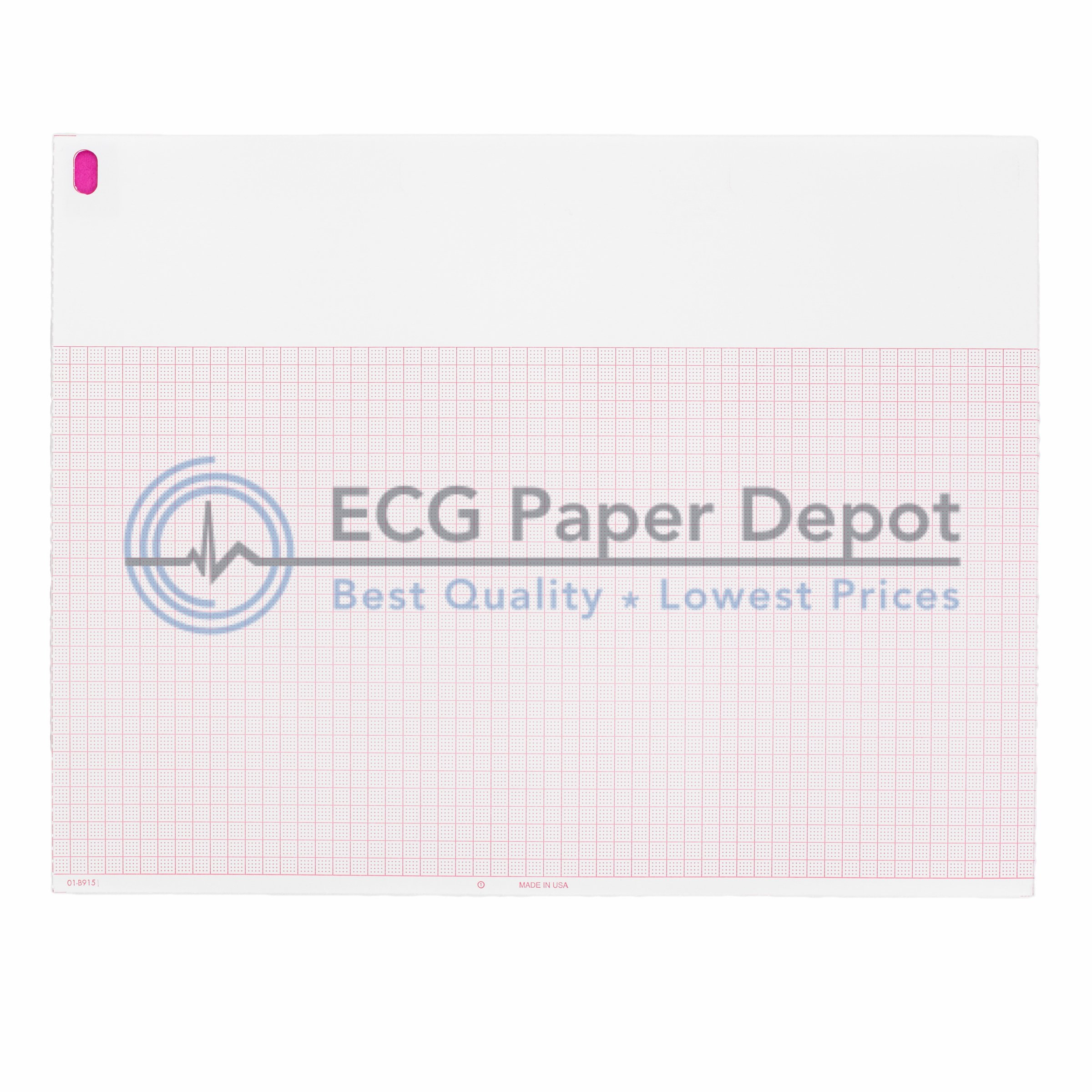 Burdick Compatible 007868 Generic ECG Paper 10 Pack, Z-Fold, Red Grid, 8.50'' x 11''