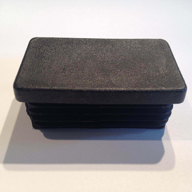 10 Stck Rechteckstopfen 60x20 mm Anthrazitgrau Kunststoff Lamellenstopfen Abdeckkappe