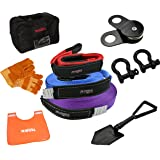 X-BULL Recovery Winch Kit (11PCS) Rigging kit including Gear Bag, Snatch Block Pulley, 3 Recovery Strap,D Rings Leather Gloves Shovel