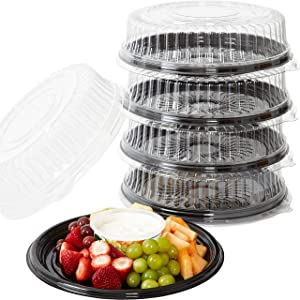 Heavy Duty, Recyclable 12 In. Serving Tray and Lid 5pk. Large, Black Plastic Party Platters with Clear Lids. Elegant Round Banquet or Catering Trays for Serving Appetizers, Sandwich and Veggie Plates