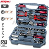 """Hi-Spec 67pc Auto Mechanics Tool Kit including Professional 3/8"""" Quick Release Ratchet Handle with 72 Teeth, Most Reached for SAE Sockets & Home and Garage Hand Tools Set in Durable Storage Case"""