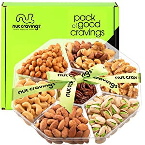 Holiday Christmas Nut Gift Basket, Green Ribbon (7 Mix Tray) - Prime Xmas Gourmet Food Arrangement Platter, Care Package Assortment, Healthy Kosher Snack Box for Families, Women, Men, Adults