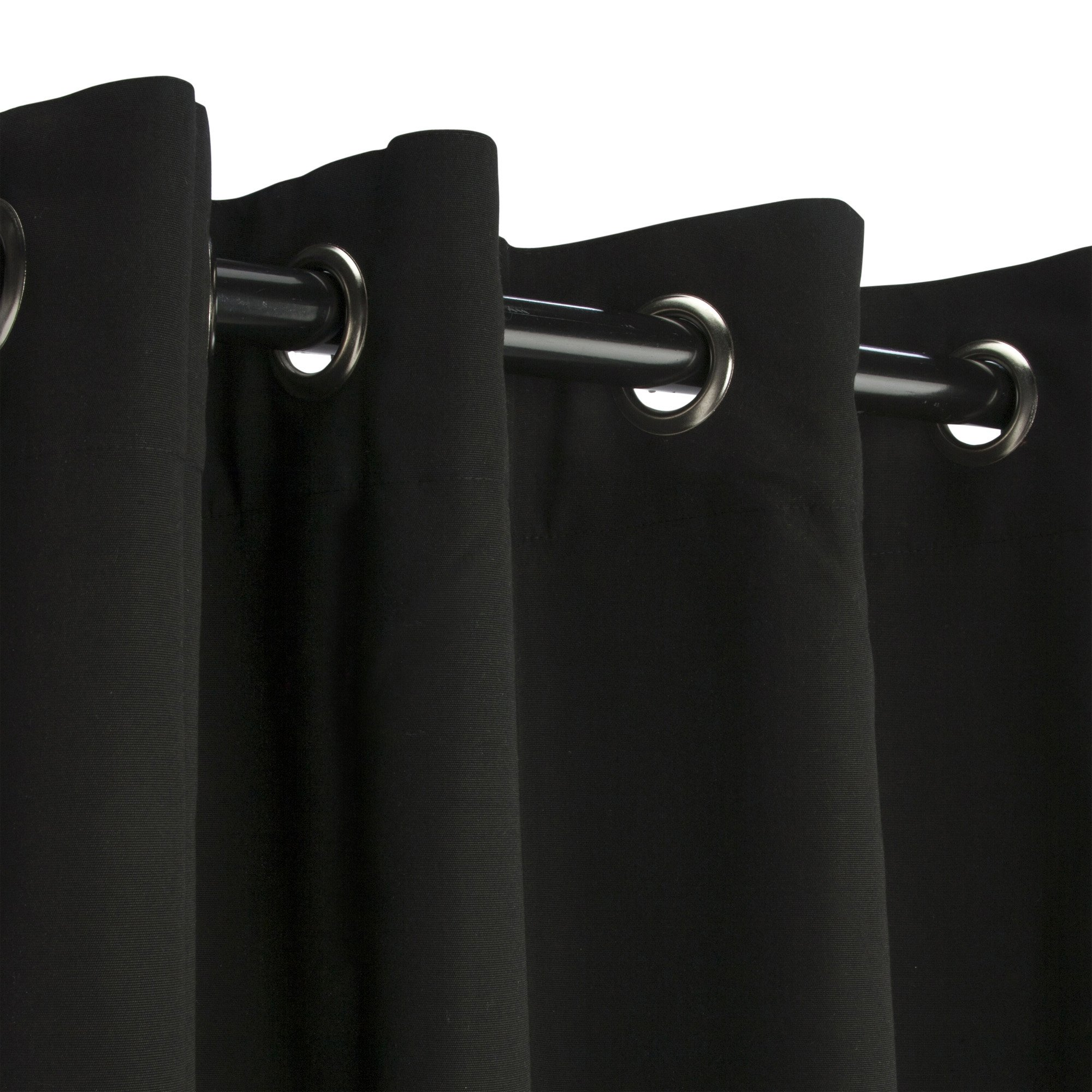 Sunbrella Outdoor Curtain Panel, Nickel Grommet Top, 50 by 120 Inch, Black (Available in Multiple Colors and Sizes) Includes Custom Storage Bag; Perfect For Your Patio, Porch, Gazebo, or Pergola by Sunbrella (Image #1)