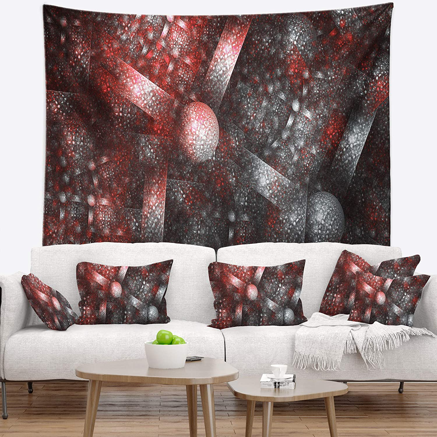 Designart TAP16121-60-50  Crystal Cell Red Steel Texture Abstract Blanket D/écor Art for Home and Office Wall Tapestry Large Created On Lightweight Polyester Fabric 60 in x 50 in