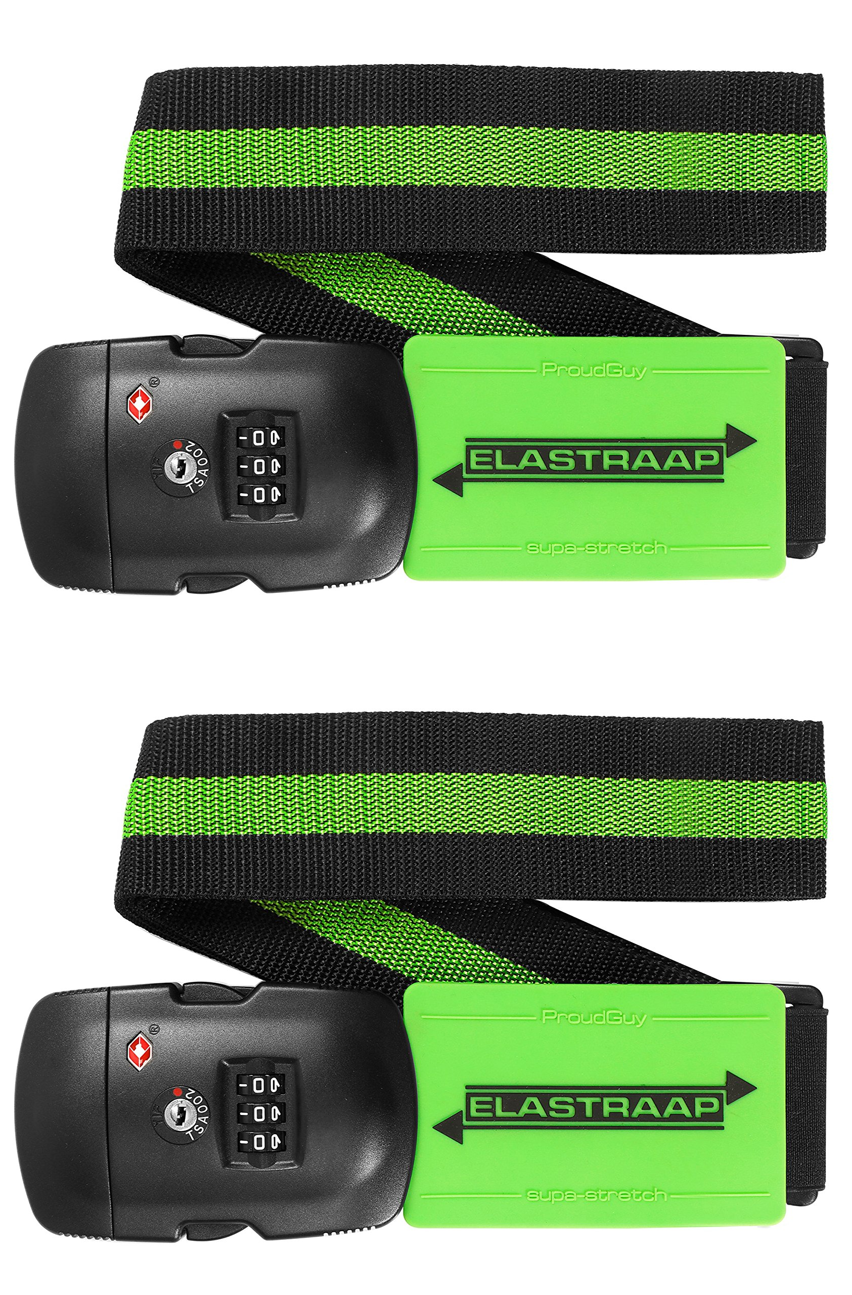 Luggage Strap ELASTRAAP Superior Strength NON-SLIP with TSA Combination Lock by ProudGuy