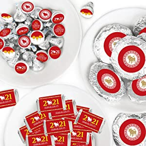Big Dot of Happiness Chinese New Year - Mini Candy Bar Wrappers, Round Candy Stickers and Circle Stickers - 2021 Year of the Ox Party Candy Favor Sticker Kit - 304 Pieces