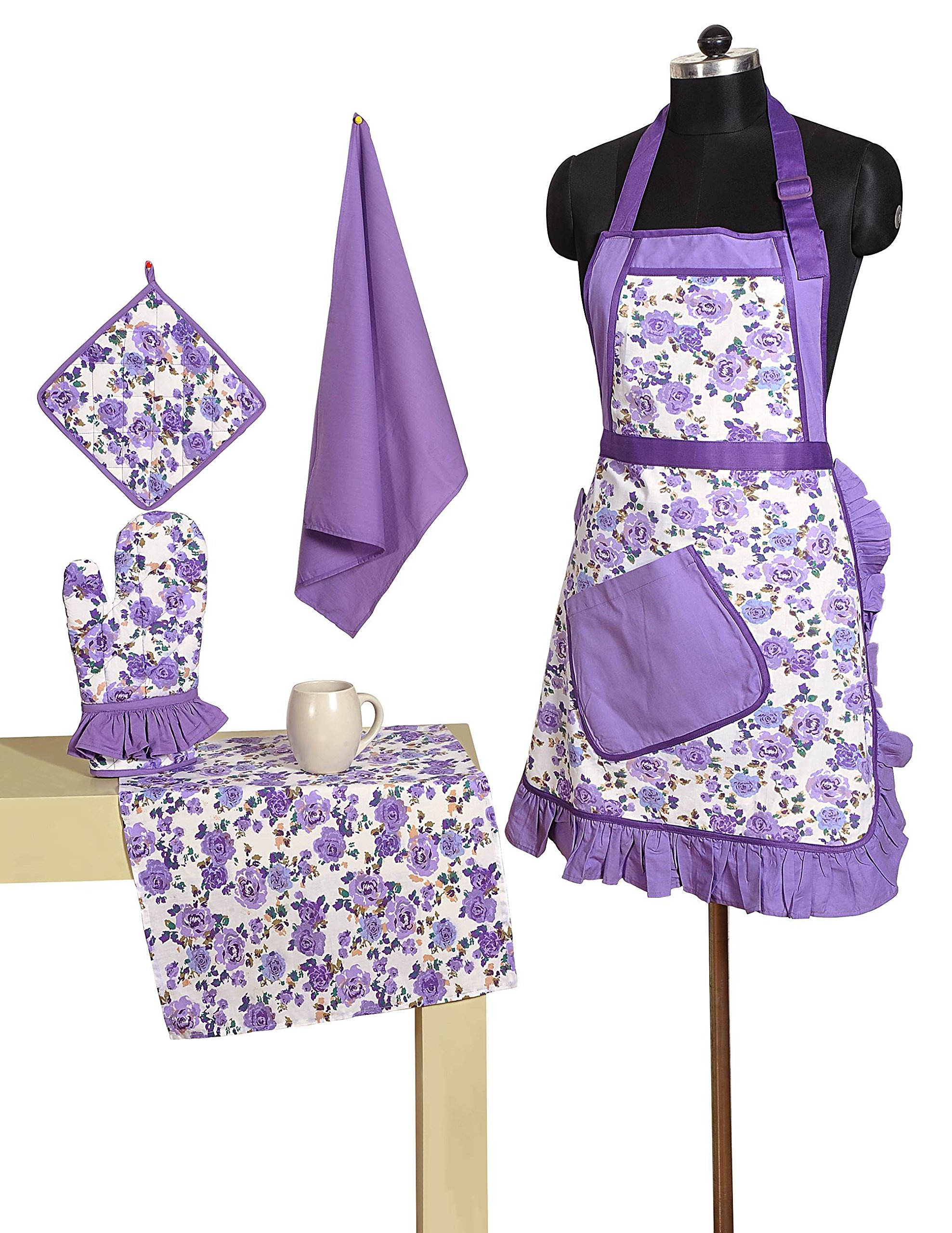 Patterned Belted Cotton Chef's Apron Set with Pot Holder, Oven Mitts & Napkins - Perfect Home Kitchen Gift or Bridal Shower Gift by Swayam
