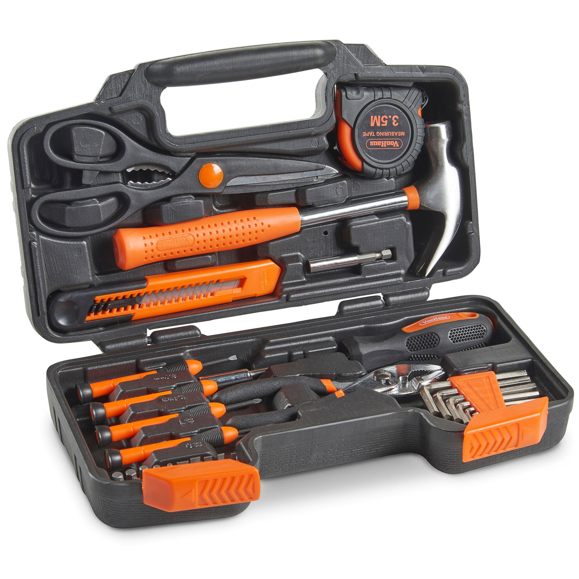 VonHaus Orange 39 Piece General Tool Set - Home Hand Tool Kit with Plastic Toolbox Storage Case