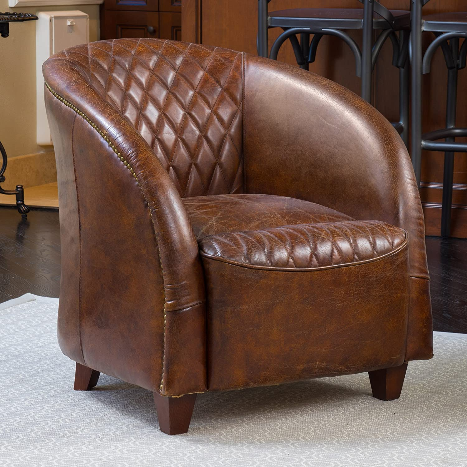 Merveilleux Amazon.com: Michele Quilted Brown Top Grain Leather Club Chair: Kitchen U0026  Dining
