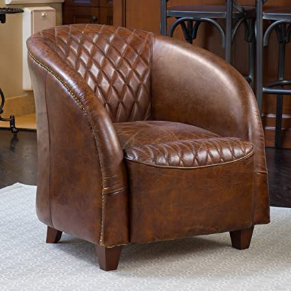 Michele Quilted Brown Top Grain Leather Club Chair