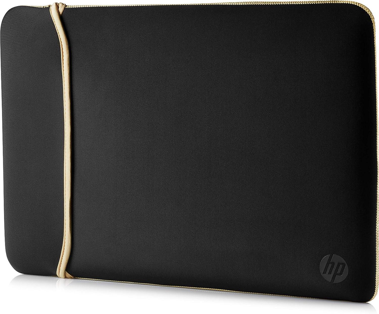 HP 14 Inch (35.5 cm) Black & Gold Reversible Neoprene Sleeve for Laptop/Chromebook/Mac