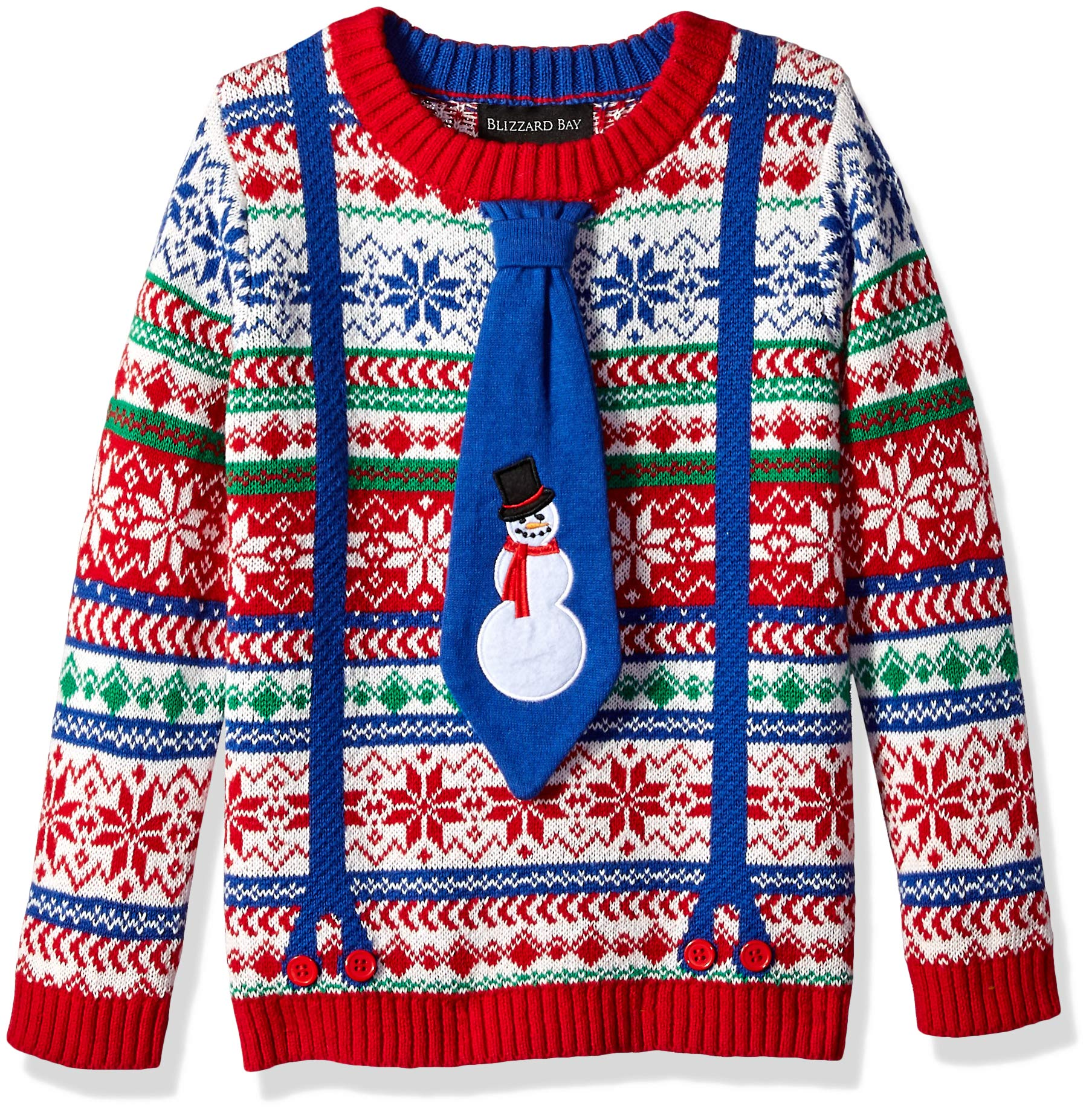 Blizzard Bay Boys' Big Crew Neck Snowman Suspenders Ugly Christmas Sweater, Blue Combo, L 14/16
