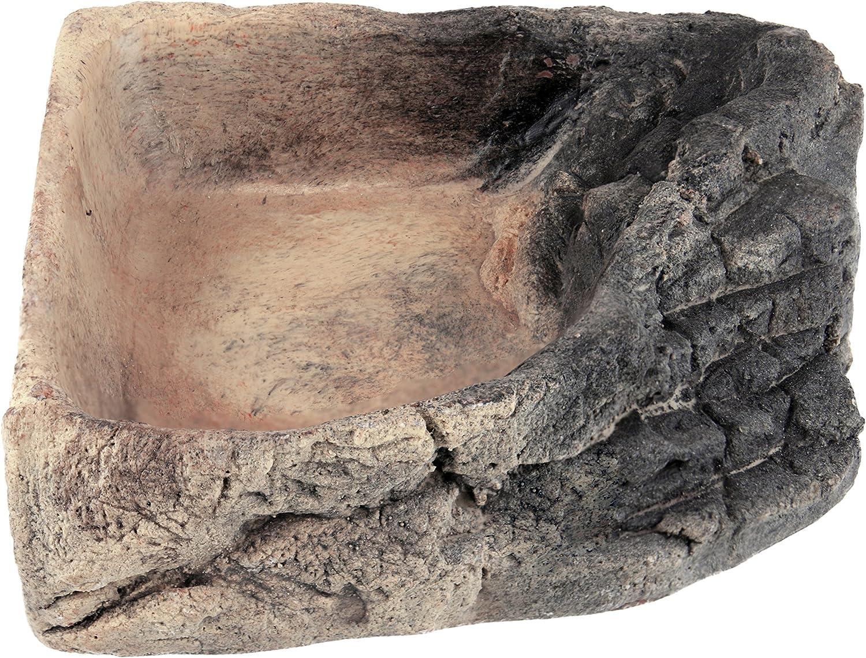 Acuami Terrarium Badeschale Deko in Stein-Optik Terraristik-Zubehör Wassernapf zum Baden und Trinken für Reptilien und Amphibien