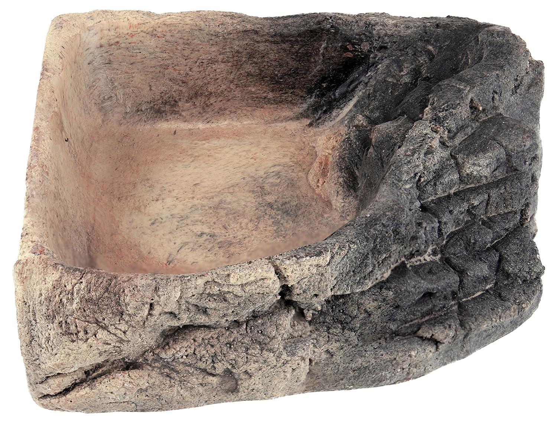 Acuami bol d'angle pour terrarium – gamelle, bol d'eau, bol à nourriture pour les reptiles, les geckos, les tortues, les serpents - accessoires terraristiques (L Roche 14,5x14,5x4cm) bol d' eau