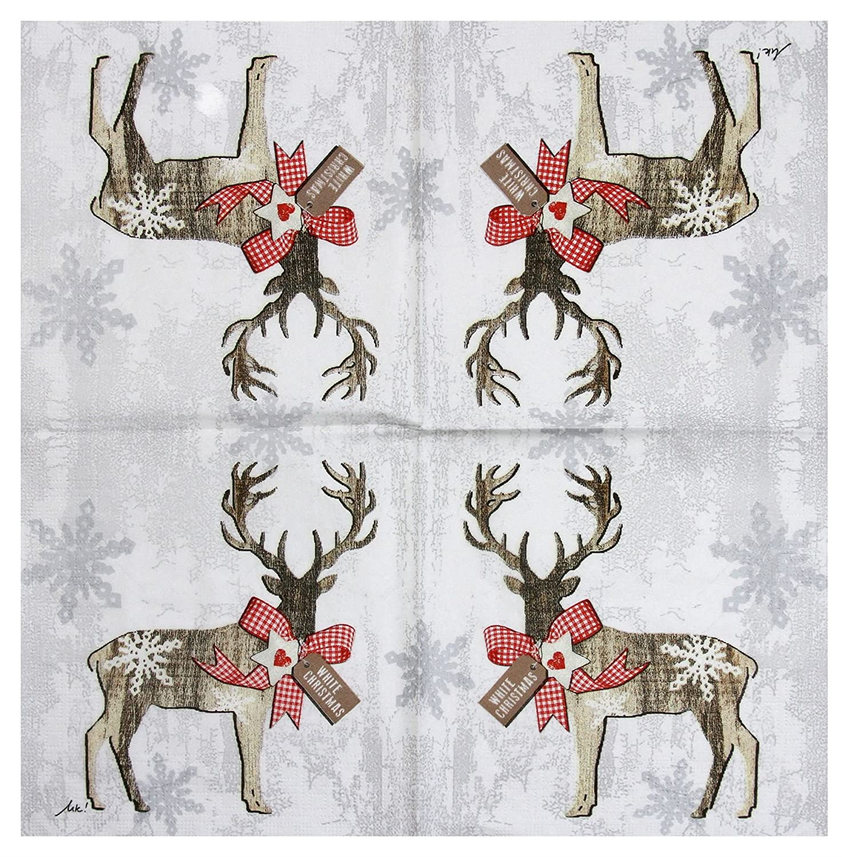 "CHRISTMAS REINDEER RIBBON GREY 3-PLY 20 PAPER NAPKINS SERVIETTES 13""x13"
