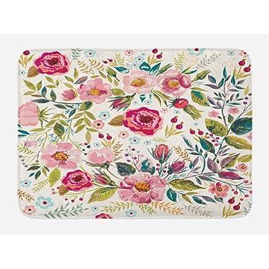 Lunarable Floral Bath Mat, Shabby Form Flowers Roses Petals Dots Leaves Buds Spring Season Theme Image Artwork, Plush Bathroom Decor Mat with Non Slip Backing, 29.5  X 17.5 , Multicolor