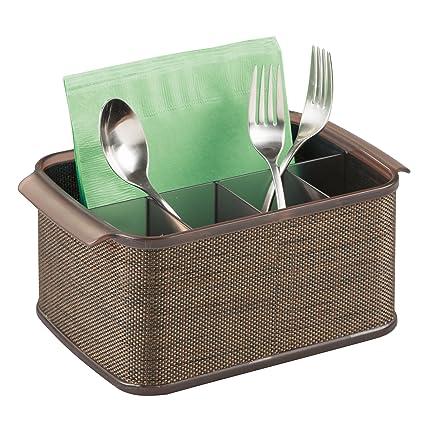 MDesign Silverware, Flatware Set Utensil Napkin Caddy Holder Organizer  Kitchen Countertop Storage, Outside Outdoor