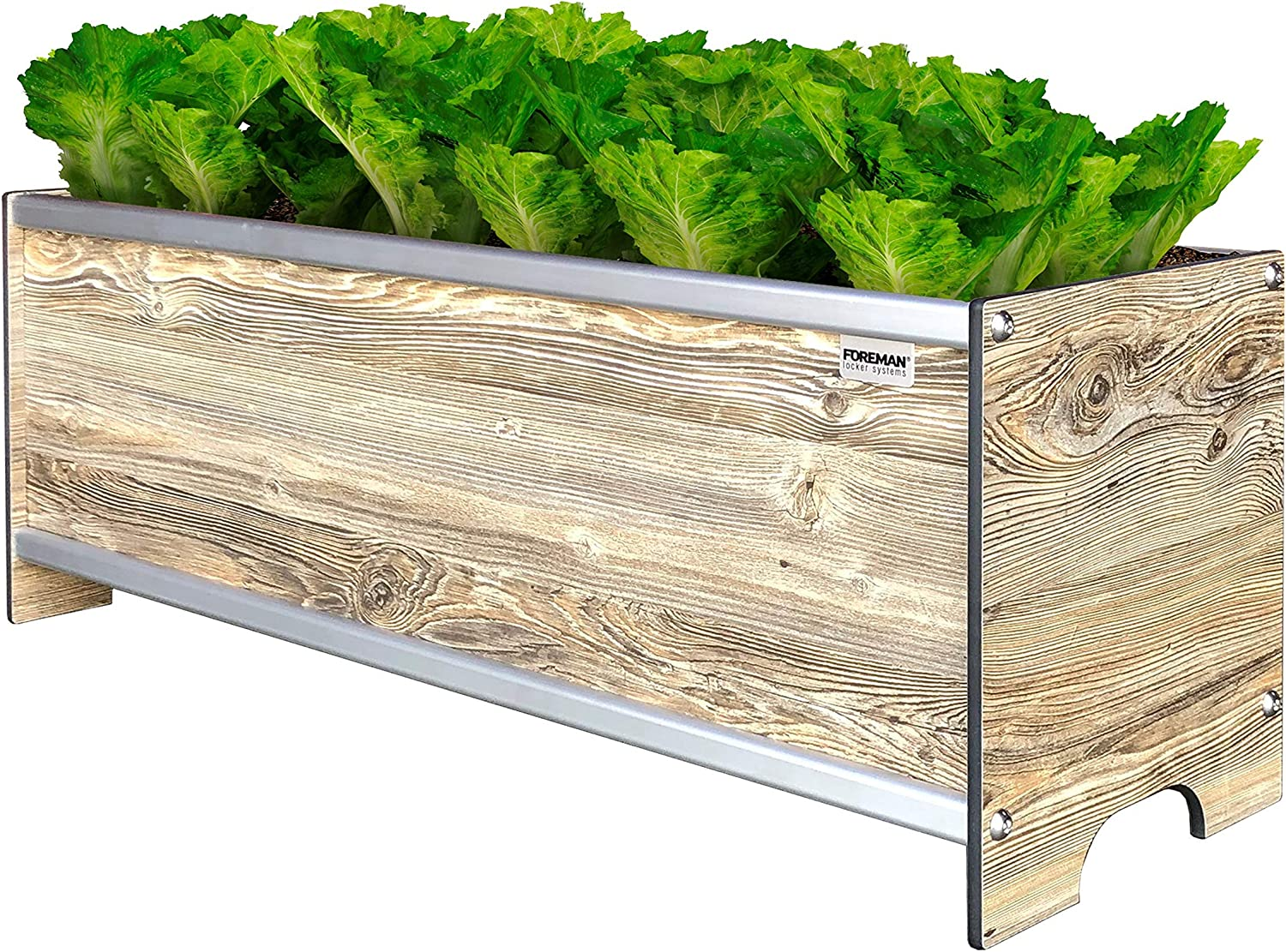 "Foreman Raised Garden Bed 36""Lx12""Wx14""H Premium HPL Plastic Wood Grain Aluminum Frame Elevated Planter Box for Backyard Patio Balcony, Amaretto"