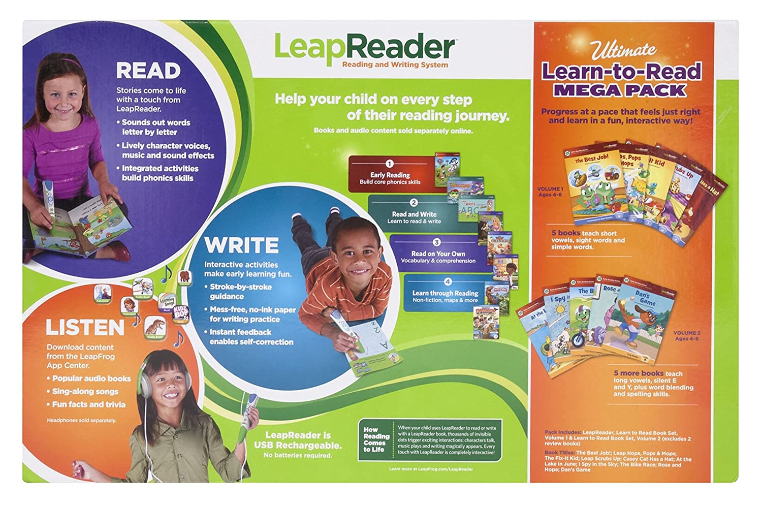 Amazon.com: LeapFrog LeapReader System Learn to Read 10 Book Bundle ...