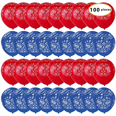 100pcs Bandana Balloons 12inches Cowboy or Western Latex Balloons for Birthday, Wedding and Western-themed Party Decorations: Toys & Games