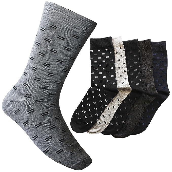 FERETI Calcetines Caballero Puntos Negro Gris Calidad Hombre Algodón Fuertes Vestir De Marca