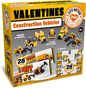 JOYIN 28 Pack Valentines Party Gift Cards with Mini Construction Vehicle Toy Set for Kids Valentine's Classroom Exchange Prizes Valentine Party Favor Toys including Dump Truck, Excavator and More