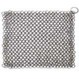 Hulless Chainmail Scrubber 8x6 inch Stainless Steel Cast Iron Cleaner, Durable Anti-Rust Scrubber for Pots, Skillets…