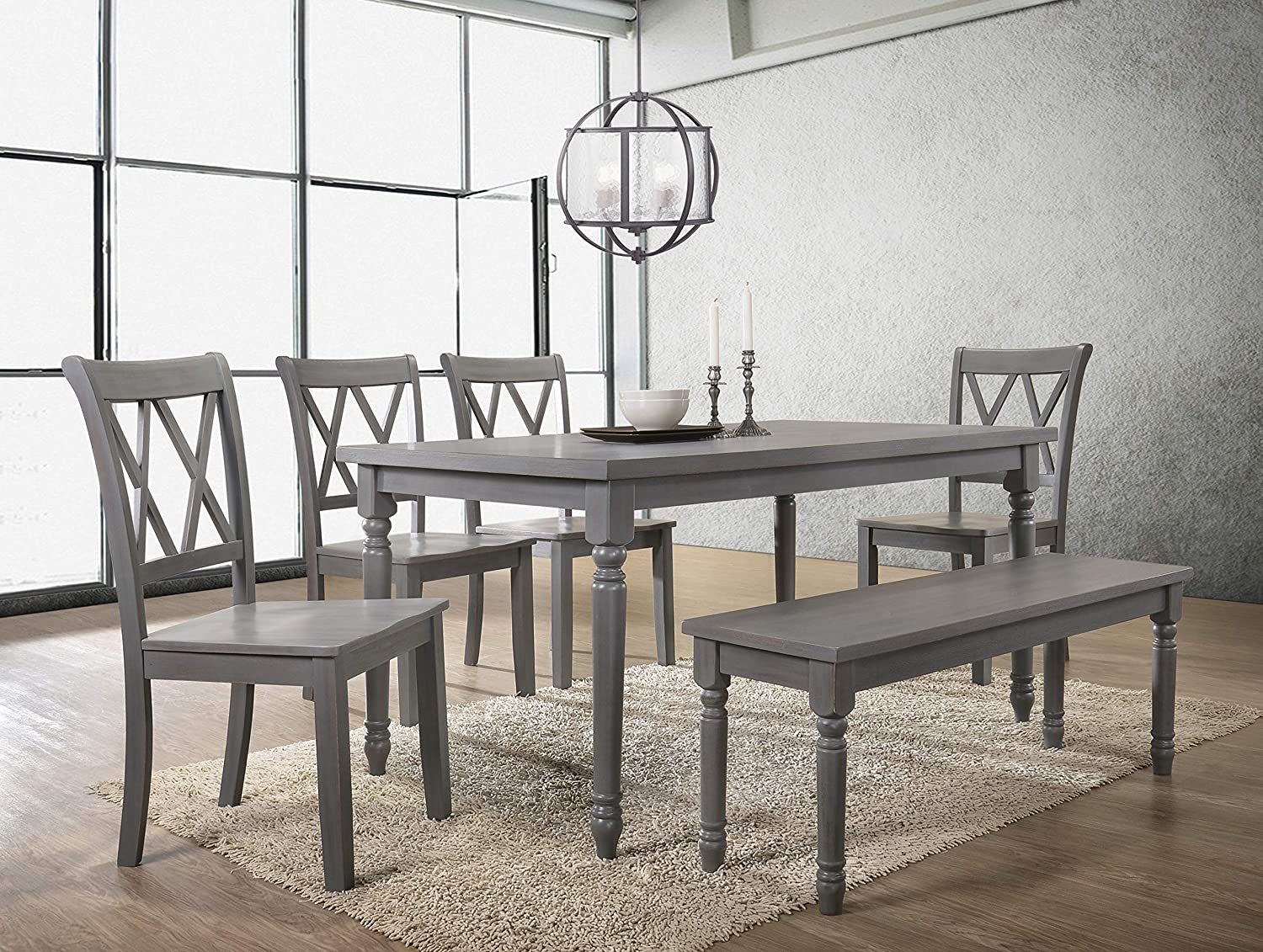 Amazon Com Best Master Furniture 6 Pcs Dining Set With Bench Rustic Grey Furniture Decor