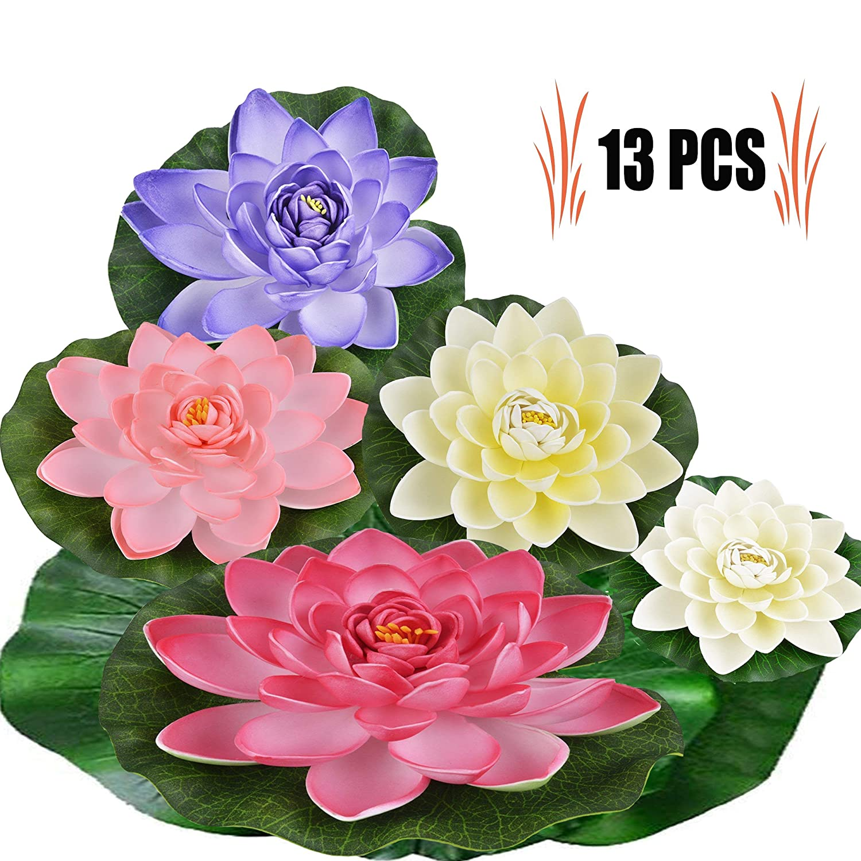 Floating Flowers13pcs Pond Decoration Waterproof Lotus Flower