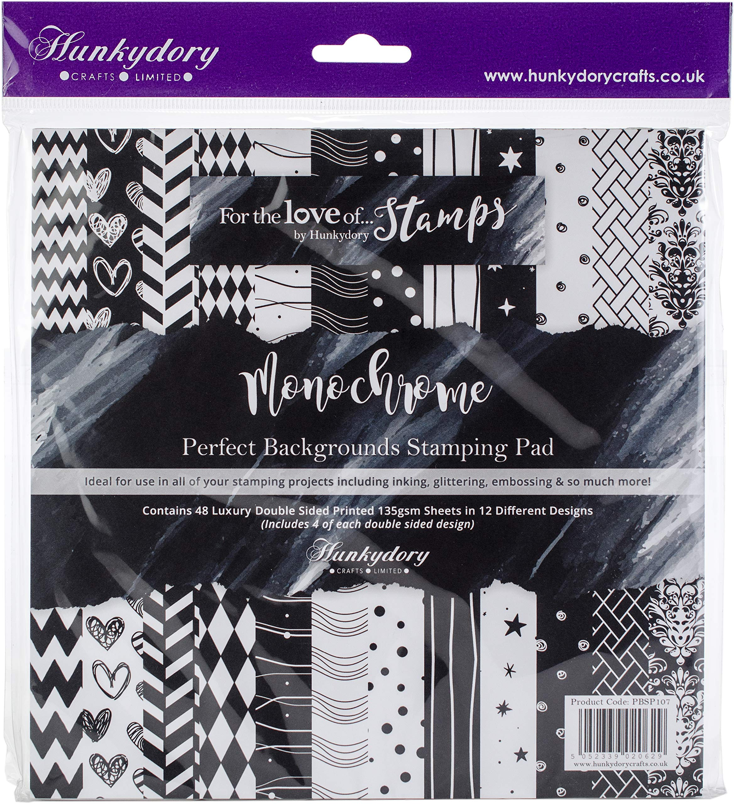 Hunkydory Crafts Pbsp107 Hunkydory Perfect Backgrounds Stamp Paper Pad 8x8 48/Pkg-Monochrome