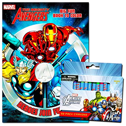Amazon.com: Marvel Avengers Coloring Book With Avengers Crayons Set ...