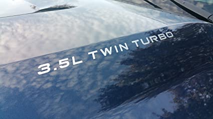 """3.5L TWIN TURBO Decal Ecoboost Hood Stickers SELECT COLOR: (Metallic Silver, 0.75"""""""