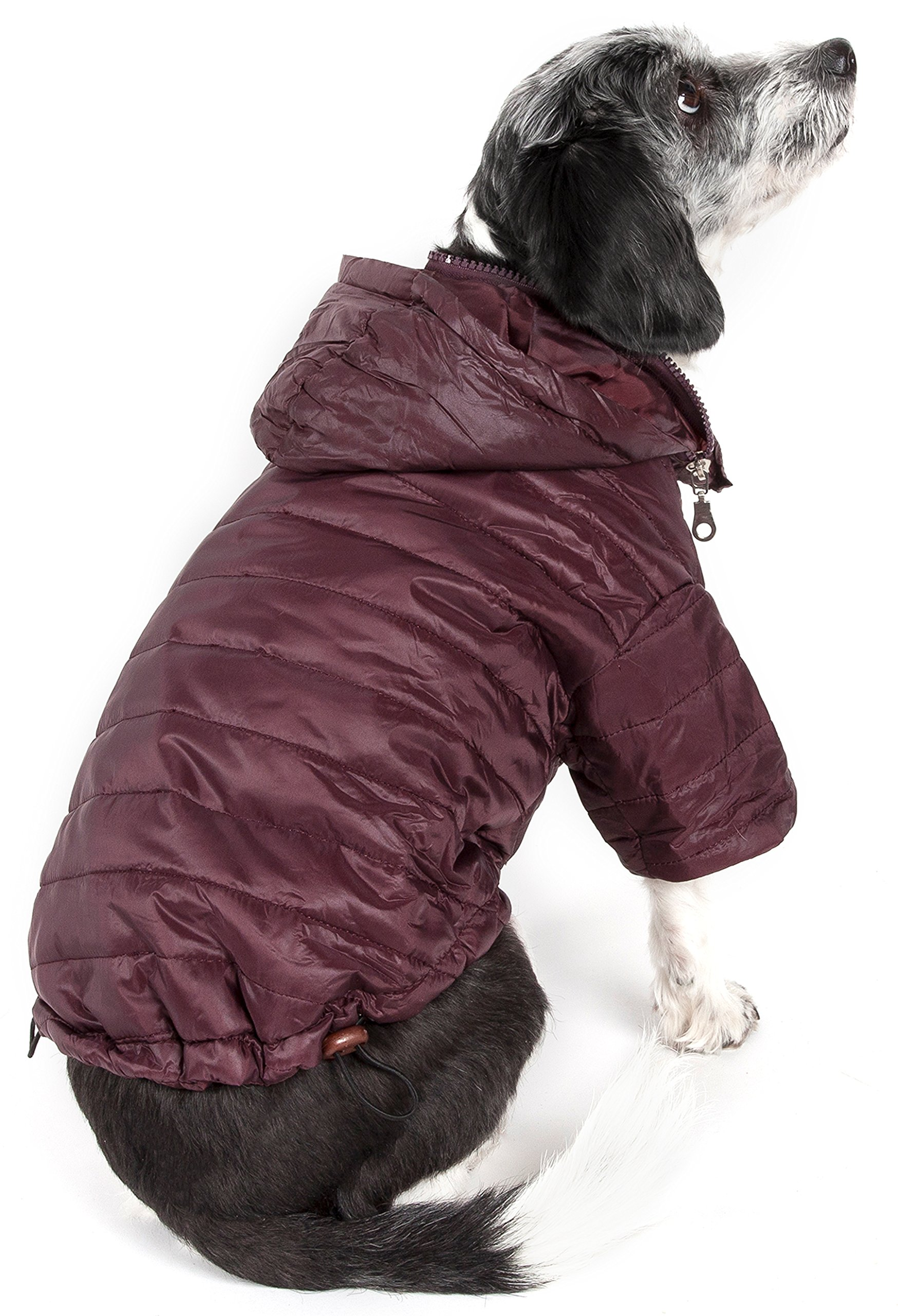 PET LIFE 'Sporty Avalanche' Lightweight and Adjustable Insulated Folding Travel Pet Dog Coat Jacket w/Built-in concealed hood, Medium, Dark Cocoa Brown
