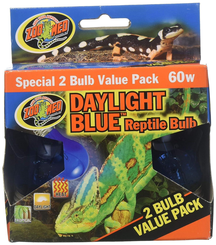 (3 Boxes) Zoo Med 2-Pack Daylight bluee Reptile Bulb, 60-watt 6 Bulbs Total