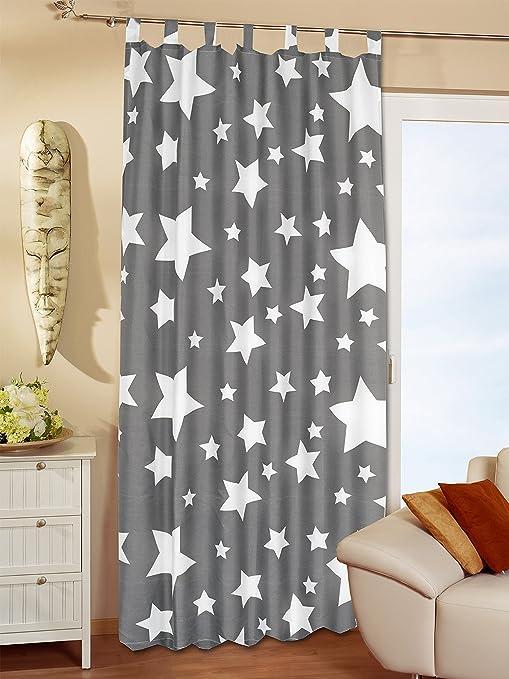 set di 2 tende decorative con passanti motivo stelle dimensioni 140 x 240 cm un/'attrazione per ogni stanza Kamaca