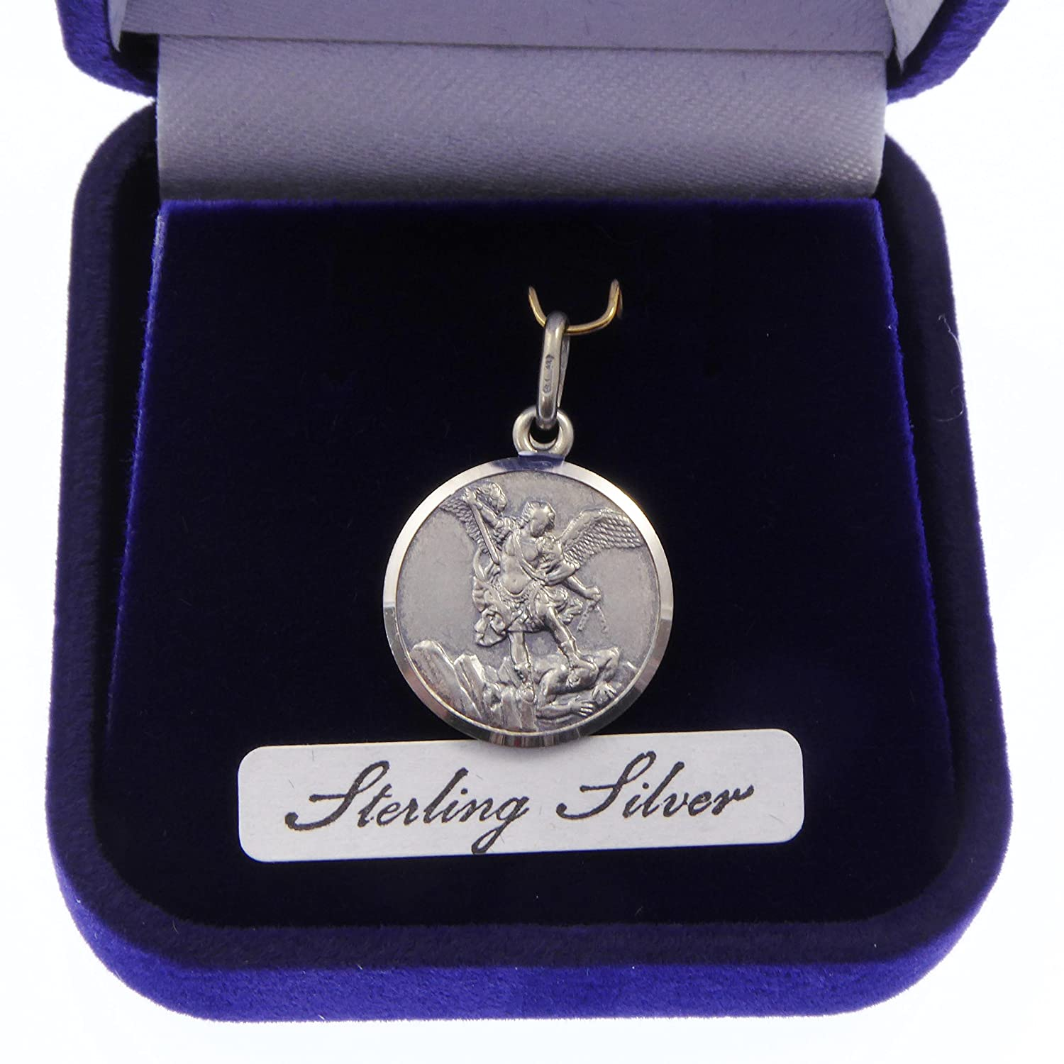Catholic Sterling silver St. Michael gift boxed medal 16mm Fx4T2f