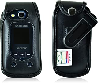 product image for Turtleback Fitted Case Made for Samsung Convoy 4 Flip Phone Black Leather Rotating Removable Belt Clip Made in USA