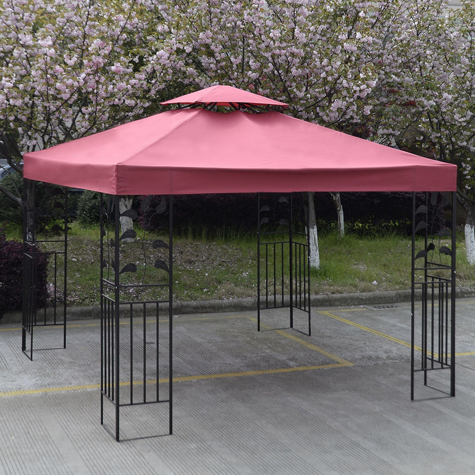 10' X 10' Gazebo Top Cover Patio Canopy Replacement 1-Tier or 2-Tier 3 Color Protection Against UV Rays From Sun Brand New (2 Tier Red)