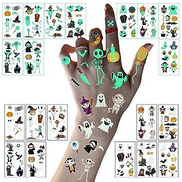 LessMo Halloween Glow in the Dark Tattoos, 178 Pcs Luminous Tattoo Stickers for Kids, Waterproof, Skeleton Pumpkin Cartoon, for Halloween Eve, Costume, Trick or Treat Party, Kids Gift