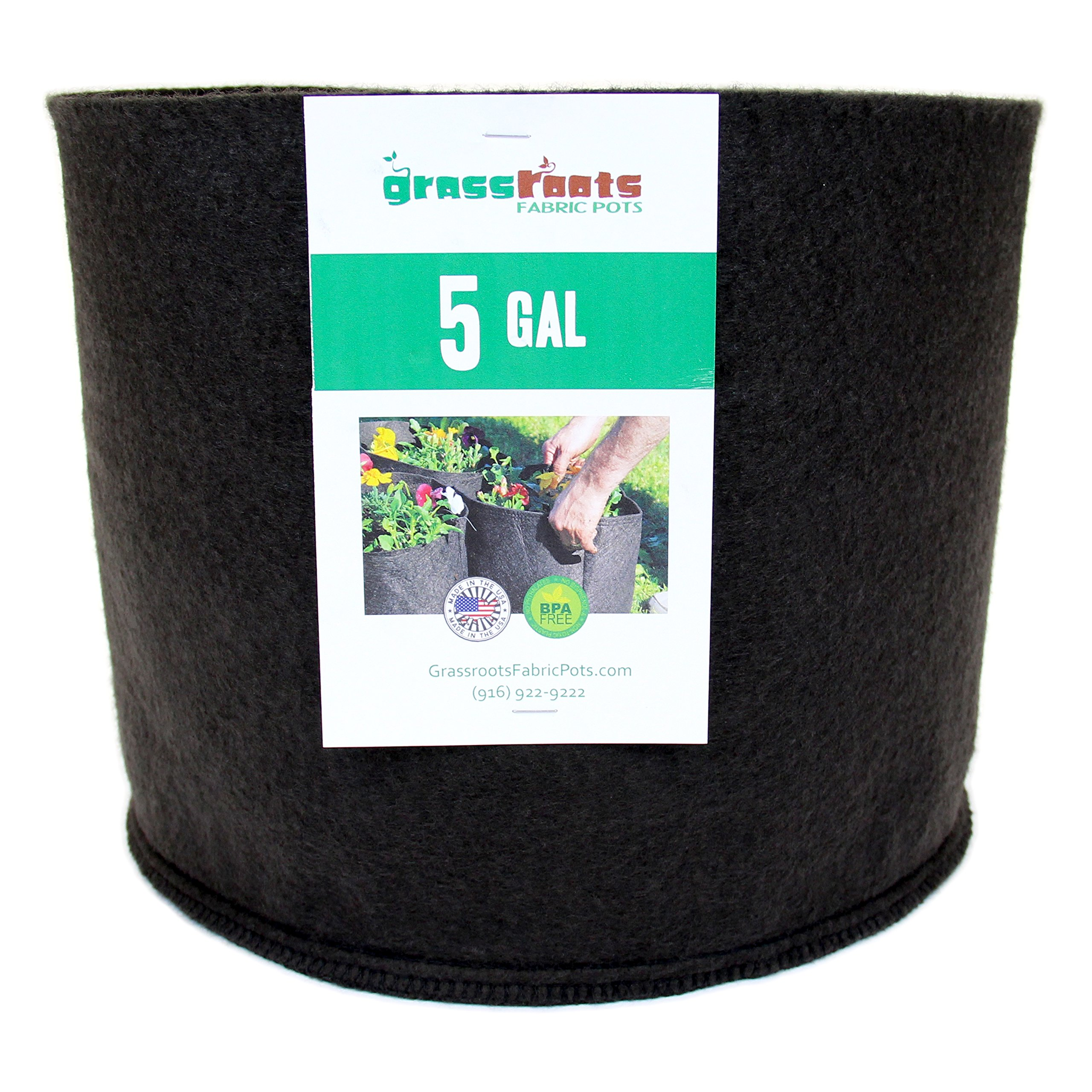 (50 Pack) 5 Gallon Black Grassroots Fabric Pot - Grow Pot and Aeration Container