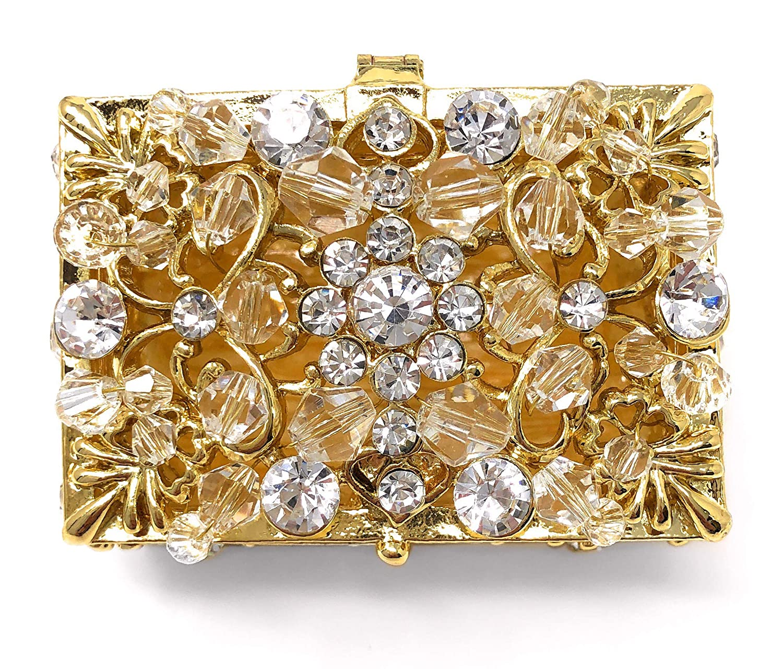 Gold Chest Box and Decorative Rhinestone Crystals Keepsake CB Accessories Wedding Unity Coins Arras de Boda