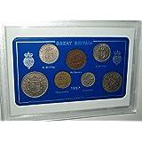 1957 GB Great Britain British Coin Birth Year Vintage Retro Gift Set (61st Birthday Present or Diamond Wedding Anniversary)