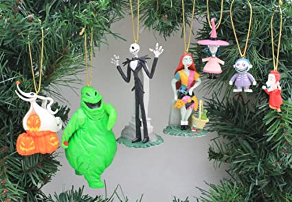 disneys the nightmare before christmas 7 piece ornament set 7 pvc ornaments included